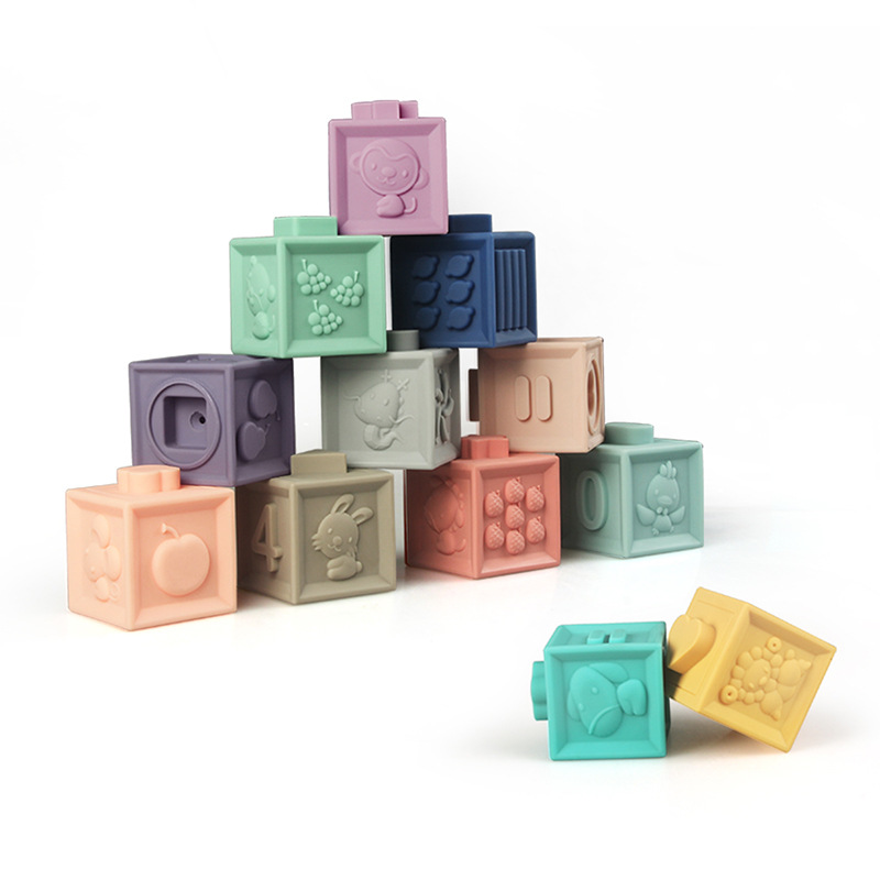 Food grade emboss silicone blocks,baby teether, silicone building stacking blocks toys