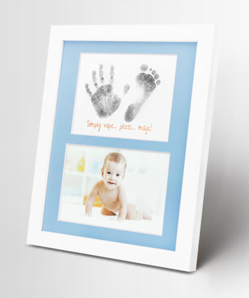 Baby Handprint Kit Footprint Frame - White Family 5x7 Picture Wood Frame, Newborn Baby Keepsakes Perfect Gifts for Boy and Girl