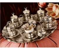 Turkish Coffee Set 6 Cups and Saucers & Circle Tray & Delight Bowl Silver Color Clover Patterned Espresso Cups