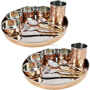 Steel Copper Dinner Thali Set, Serving Food Dishes Home Restaurant