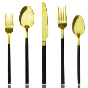 High Quality 18/8 Western Wedding Gifts Gold Matte Spoon Fork Knife Golden Cutlery Set