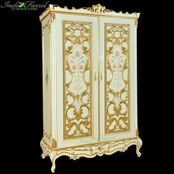 Indonesia Hand Carved 2 Door Wooden Wardrobe Almirah Design Bedroom