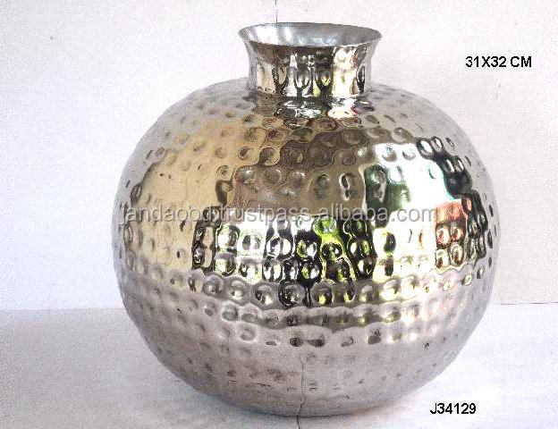 Nickel Finished Hammered Vase With India Style Earthen Pot Buy