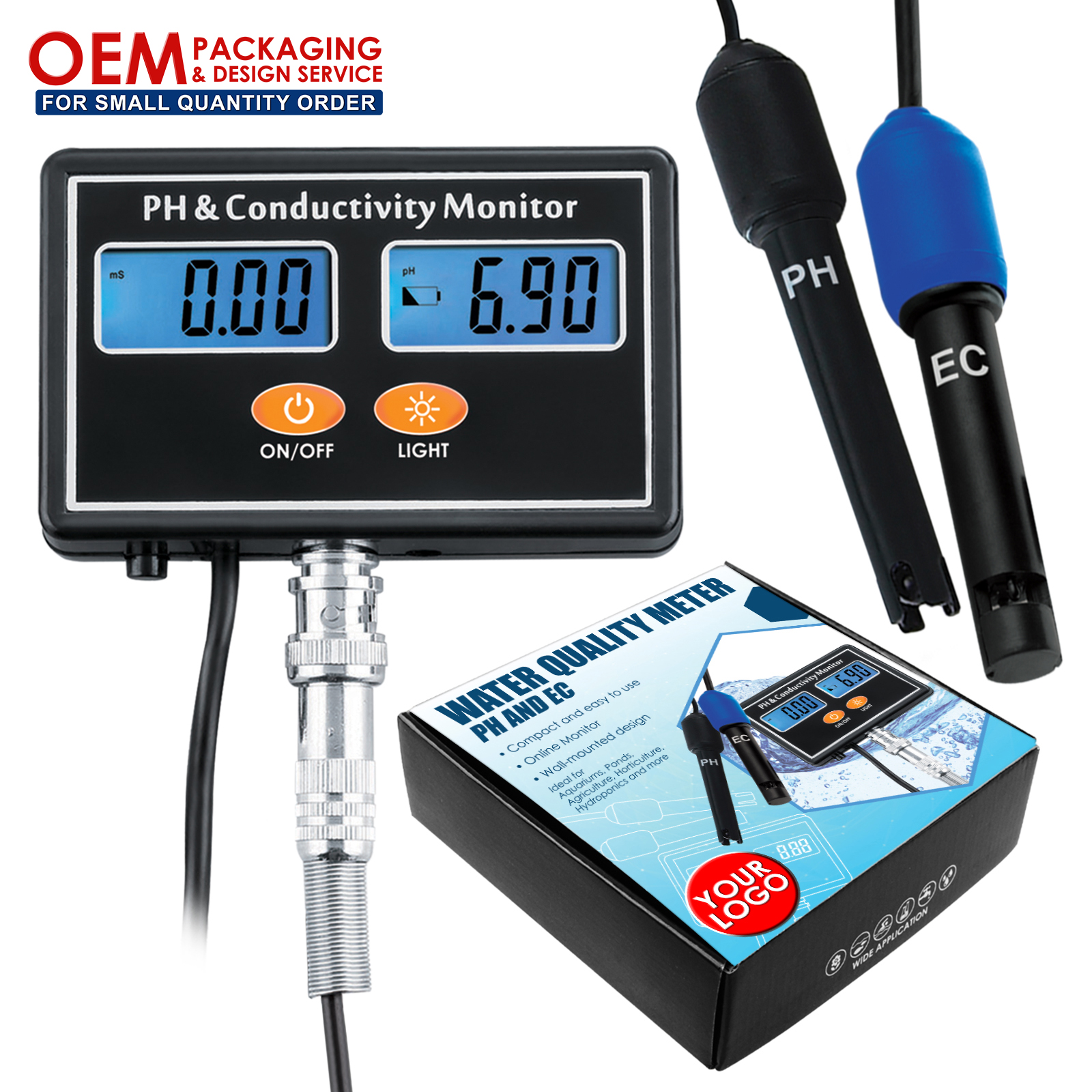 Online PH/EC Conductivity Monitor Meter Tester ATC Water Quality Rechargeable Real-time Monitoring (OEM Packaging Available)