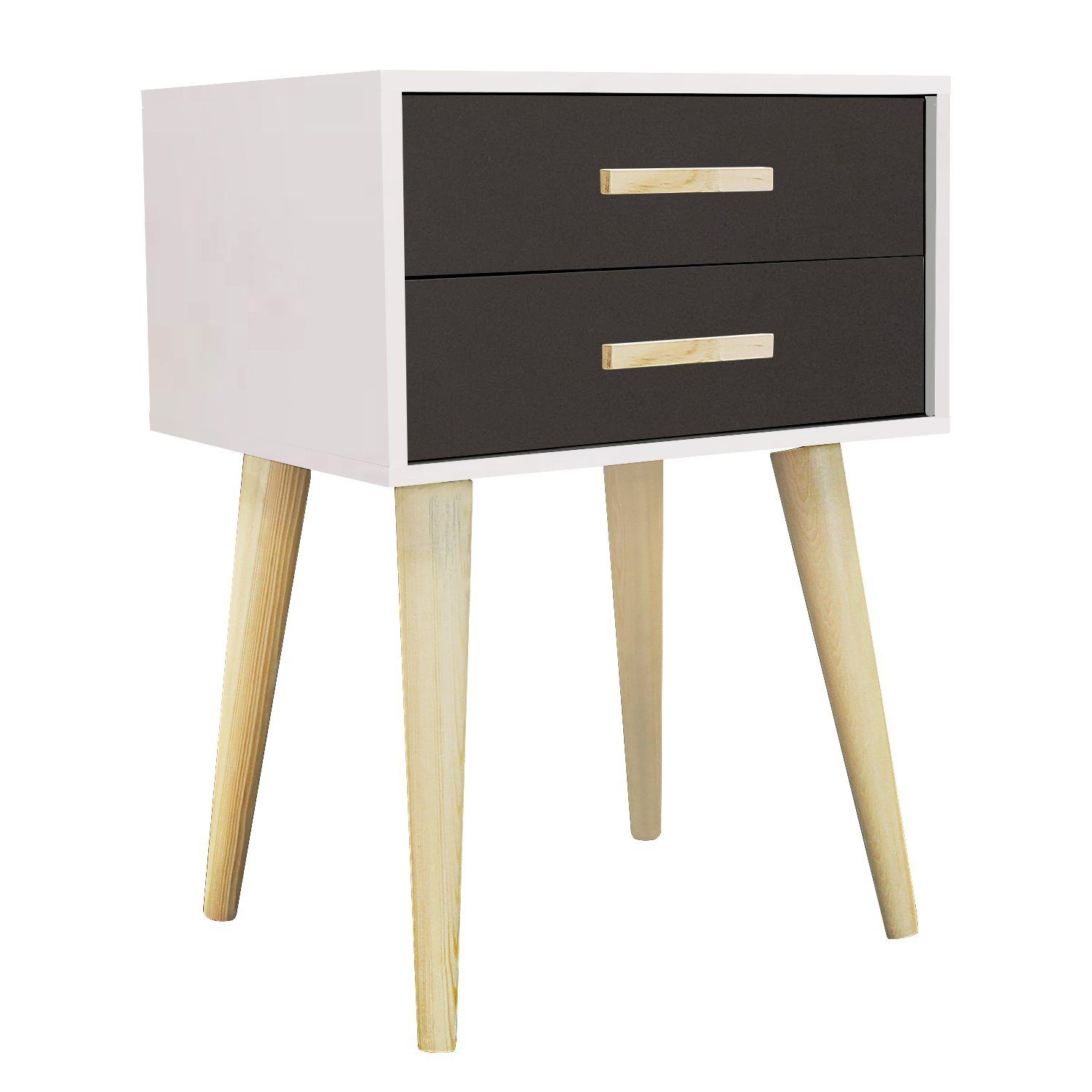Jerry & Maggie - Nightstand Modern Fashion 4 Thin Long Legs Space Station - 2 Tier Cubic Night Stand Storage Bedside Table with 2 Drawer Real Natural Paulownia Wood   White & Navy
