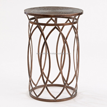 Round Drum Side End Coffee Table Metal Frame Gl Top Antique Barrel Shaped Luxury Living Room Accent Furniture And