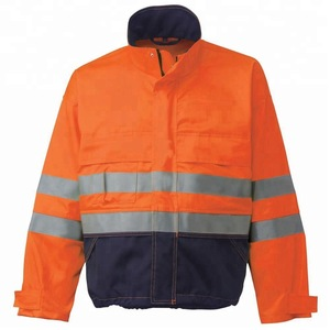 Orange Water & Oil Resistant/Safety Hi Vis Workwear Uniform Jacket/ With Reflective Stripes and Fleece lining
