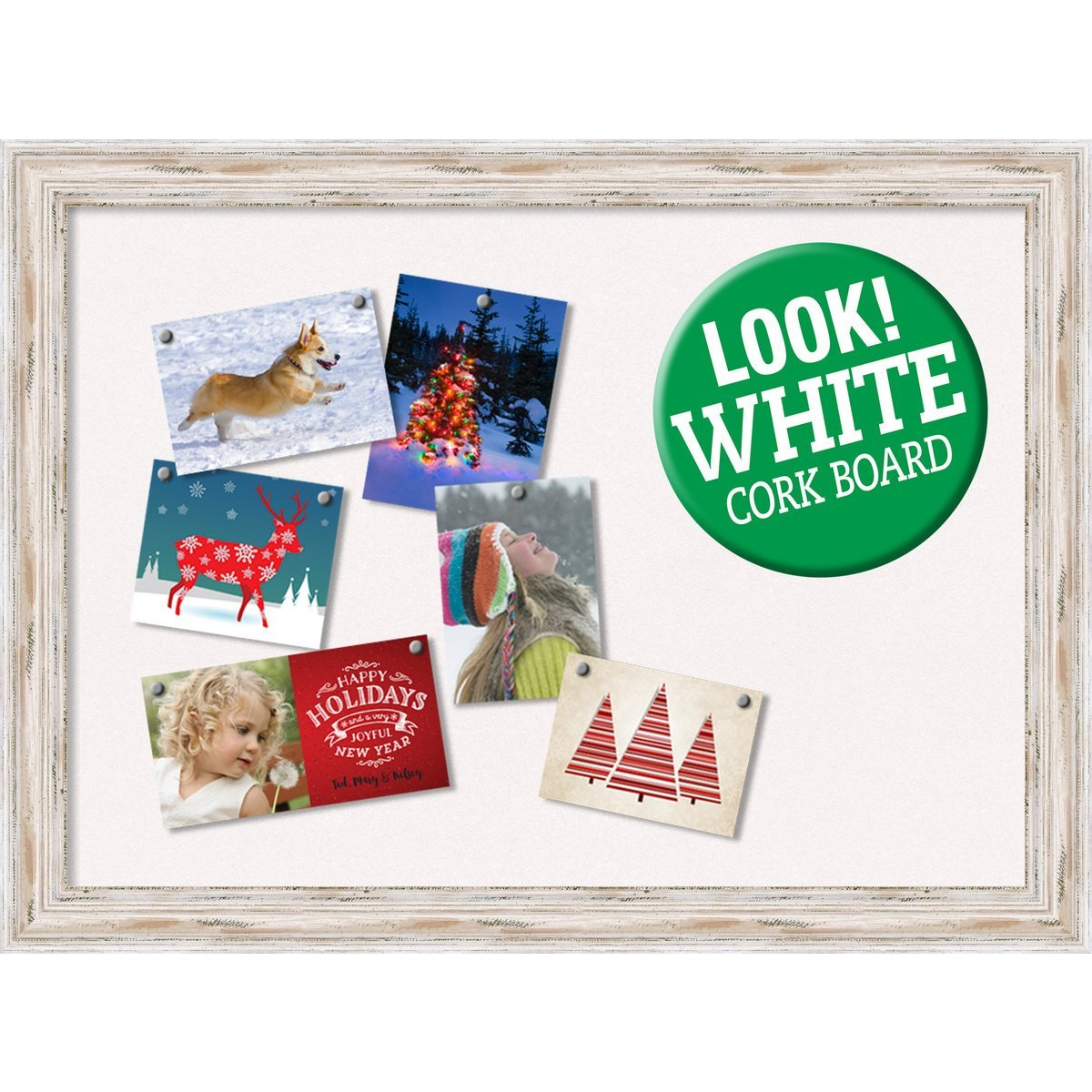 Amanti Art Framed Christmas Card Cork Board, Alexandria White Wash: Outer Size 32 x 24 Whitewash