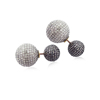 Pave Diamond Ball Stud 925 Silver Earrings Jewelry