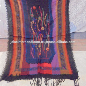 DESIGNER BOILED WOOL SHAWL STOLE SCARF HAND EMBROIDERY PAISLEY JAMAWAR