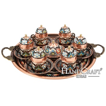Hand made copper turkish coffee espresso tea serving set cups for six with sugar bowl and tray