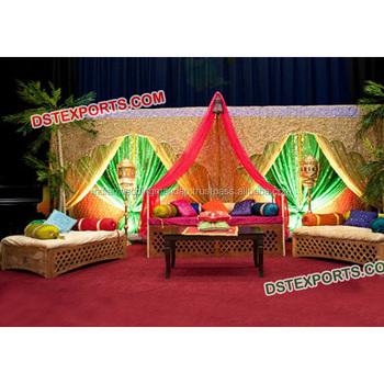 Moroccan Arabic Wedding Mehndi Sofa Indian Mehndi Stage Decoration