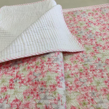 Flower Print machine quilted double size bed cover