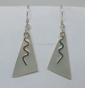 ERS#265 Silver squiggle Earrings with shell