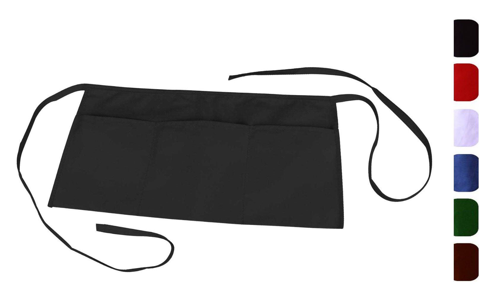 "Waist Aprons with 3 Pockets-12""x23""-MHF Brand-1 Piece Pack-New Spun Poly-Restaurant or Home Kitchen (Black)"
