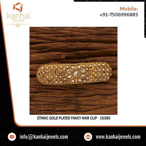 Ethnic Gold Plated Fancy Hair Clip 15385