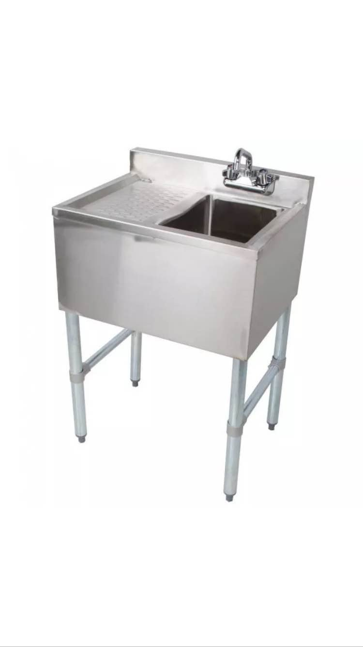 Get Quotations · Stainless Steel Single One Compartment Bar Sink With Left  Drainboard 19 X 24