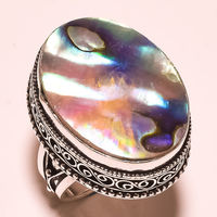 ABALONE SHELL GEMSTONE VINTAGE STYLE .925 SILVER RING Size 9