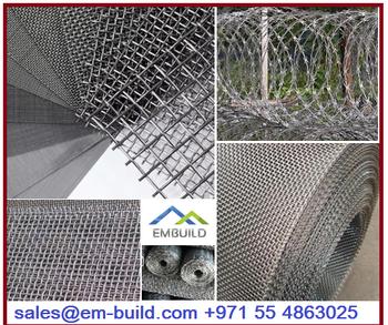 Ss Wire Mesh / Gi Wire Mesh / Aluminum Wire Mesh + 971 55 4863025 Dubai -  Buy Ss Wire Mesh/ Corner Bead/ Razor Wire/ Brc Mesh/ Perforated Mesh/  Welded