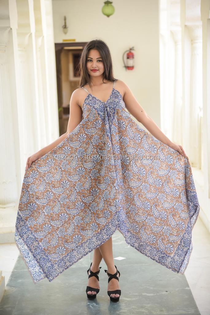 8d63877be5f30 Bikini Cover Up Long Sarong Party Wear Dress Cotton Block Printed Ladies  Women Fashionable Dresses Stylish