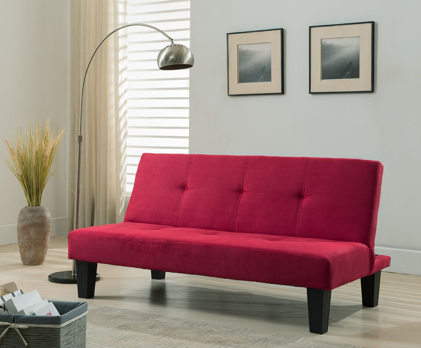 Kings Brand Furniture Microfiber With Adjule Back Klik Klak Sofa Futon Bed Sleeper Red