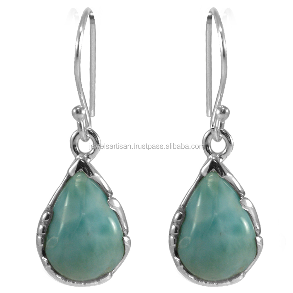 Natural Larimar Gemstone 925 Sterling Silver Earring
