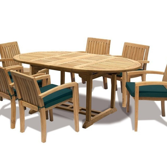 Hihg Quality Indonesian Teak Wood 6 Seat Extending Table And Chair Cushion  Set   Outdoor Furniture