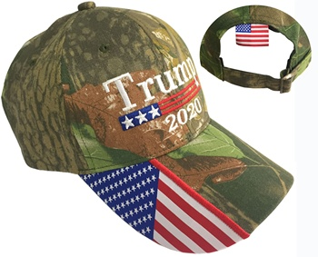 Wholesale high quality COTTON american flag tactical realtree camo baseball cap trump 2020 hats