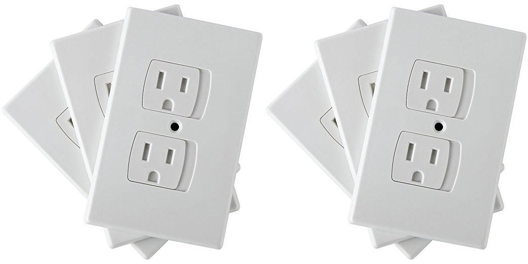 Premium Self Closing Outlet Covers - One Hole Neat Look - Childproof Outlet - 6 Child Safety Covers