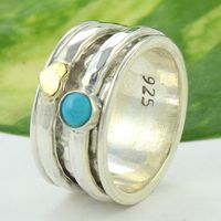 Turquoise gemstone spinning ring brass copper spinner band wholesale silver spinner ring fine silver jewelry exporter