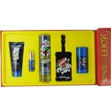 ED HARDY LOVE & LUCK by Christian Audigier EDT SPRAY 3.4 OZ & HAIR AND BODY WASH 3 OZ & DEODORANT STICK 2.75 OZ & EDT SPRAY .25 OZ MINI & LUGGAGE TAG - 201986