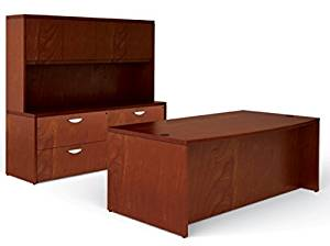 """Offices To Go 72"""" Executive Office Desk Executive Desk: 72""""W X 34/40""""D X 29""""H Credenza Made Of Two Lateral Files: 72""""W X 24""""D X 29""""H Hutch: 72""""W X 15""""D X 42""""H - Cordovan"""