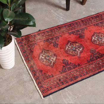 Antike Handgeknupfte Orange Und Rot Persische Laufer Teppich Vintage