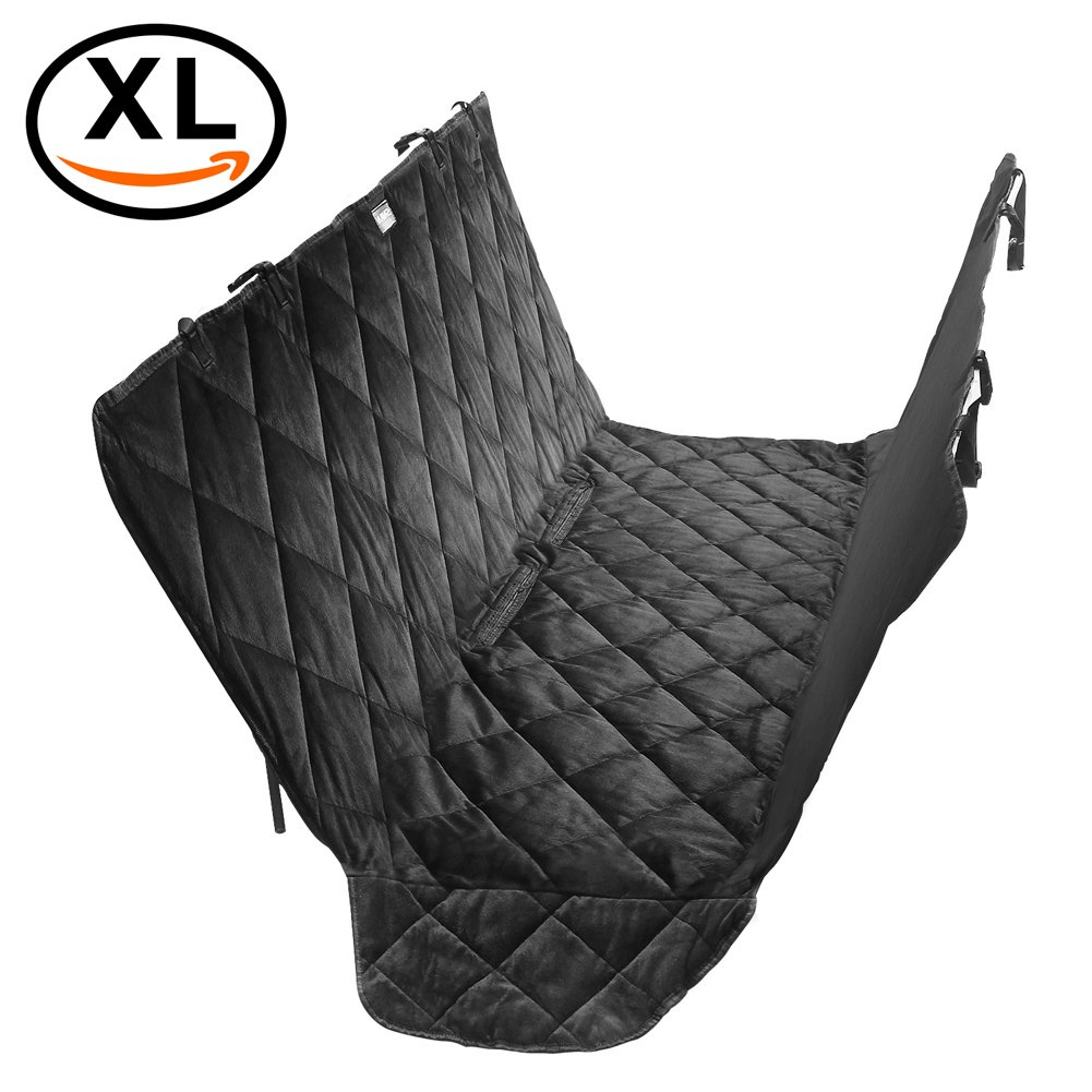 AUTOWN Pet Seat Cover Large for Car Truck SUV Van - 600D & Soft Short Plush & Scratch Proof & Nonslip & Durable Travel Hammock Dog Back Seat Cover Black Halloween Dog