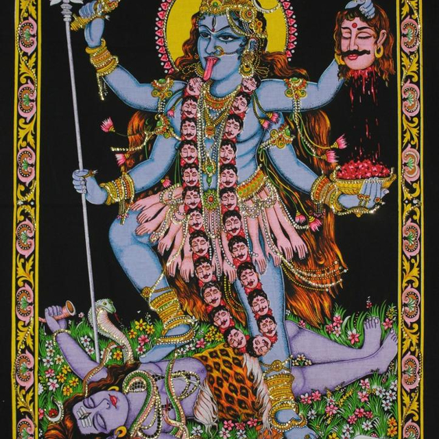 Poster Kali Mata 50 x 70 cm Brillant dor/é Inde Accessoire Hindouisme D/écoration Maison