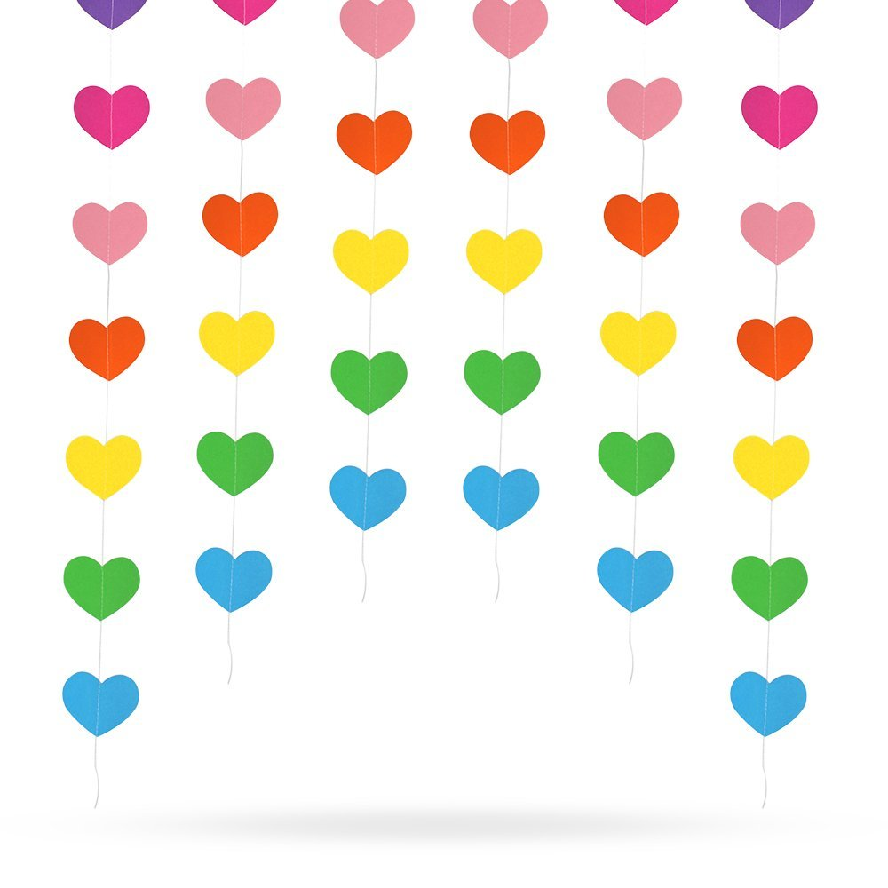Erlvery DaMain 4 Pack 52.4 Feet Heart-Shaped Rainbow Paper Garland Hanging Decorations for Wedding Party Birthday Decorations