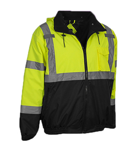 yellow Water & Oil Resistant/Safety Hi Vis Workwear Uniform Jacket/ With Reflective Stripes and Fleece lining