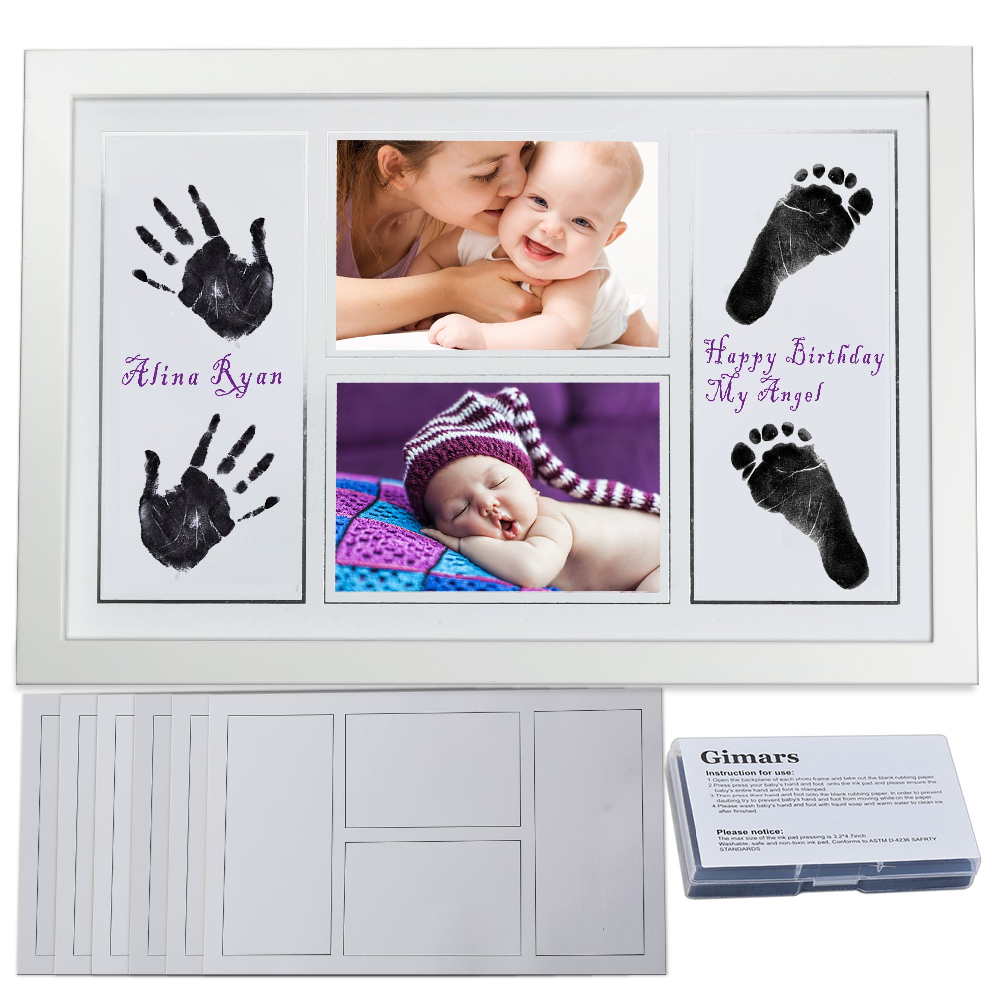 A Perfect Baby Shower Gift Gimars Baby Safe Large Reusable Ink Pad /& Newborn Baby Handprint and Footprint Photo Frame Kit with 6 Thicker Paper Sheets to Save Baby Prints