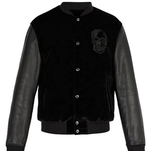 Wholesale New Arrival Velvet & Leather Bomber Jacket In Black Color For Men In Pakistan