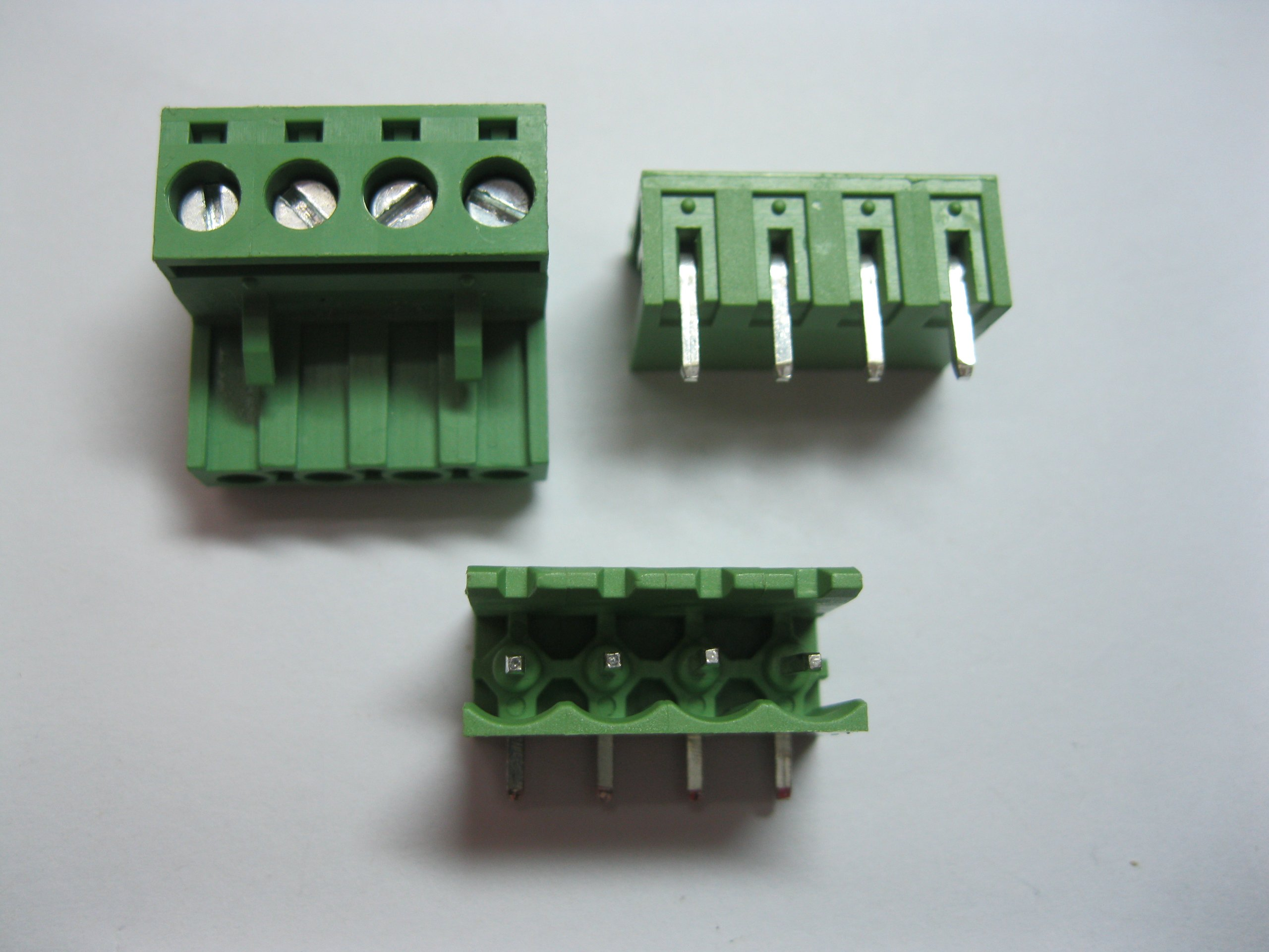 10 Pcs Pitch 5.08mm 4way/pin Screw Terminal Block Connector w/ Angle-pin Green Color Pluggable Type Skywalking