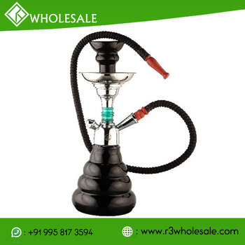R3 12 Inch Tall Glass Hookah with Metal Ash Catcher and Ceramic Hookah Bowl