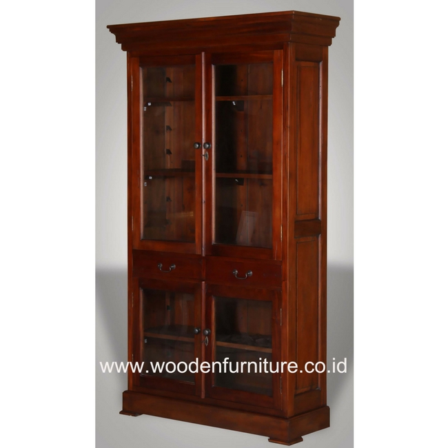 Classic Vitrina Antique Showcase Vintage Bookcase Mahogany Painted