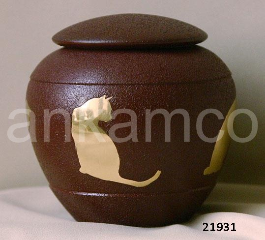 Engraved Paw Print Brass Odyssey Pet Urns