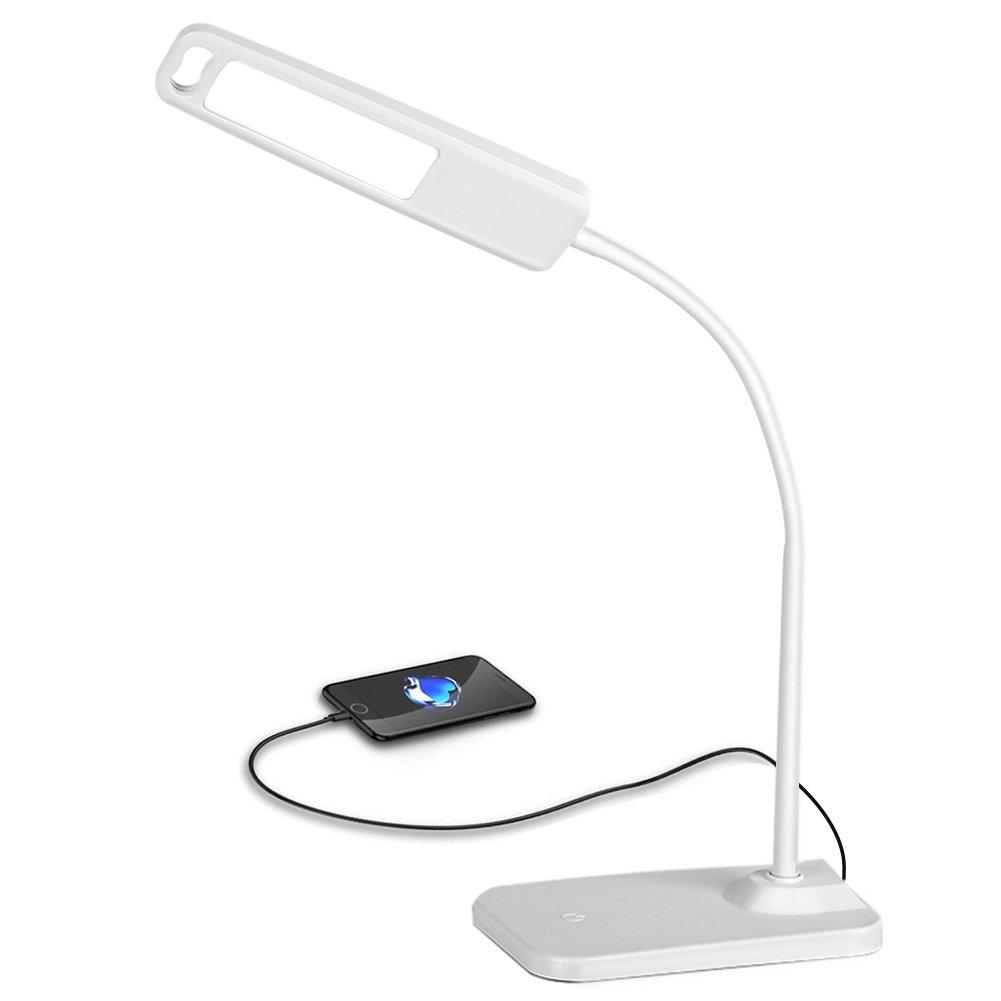 Office Desk Lamp, HQOON Flexible Gooseneck Table Lamp, Bedroom Reading Lamp, LED USB Desktop Light, 3 Lighting Colors, Unlimited Dimmer