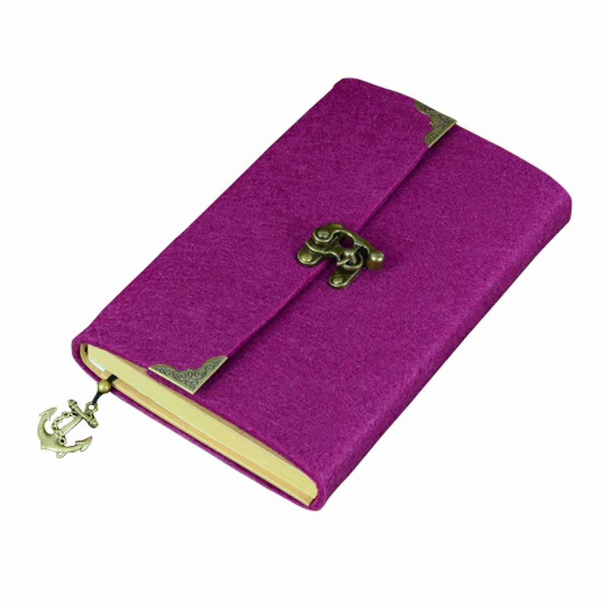 SAYEEC Retro Slim Felt Cover Hardcover Notebook With Bronze Lock - Lined Diary Travel Writing Journal Drawing Sketchbook Purple