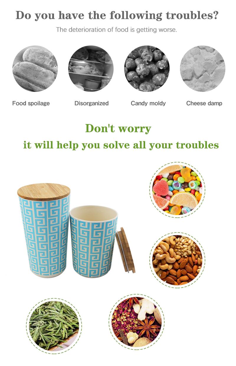 핫 세일 대나무 섬유 주방 용기 세트 주방 다용도 식품 저장 용기 세트
