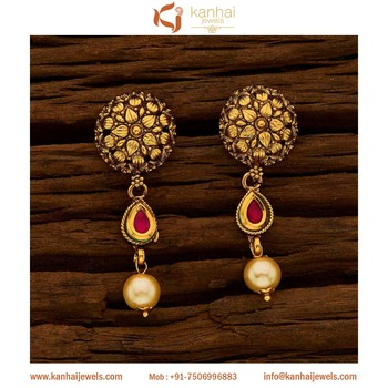 Antique Gold Plated Fancy Tops Ruby 15664 Drop Earrings Trendy Earring Design For Women Product On Alibaba