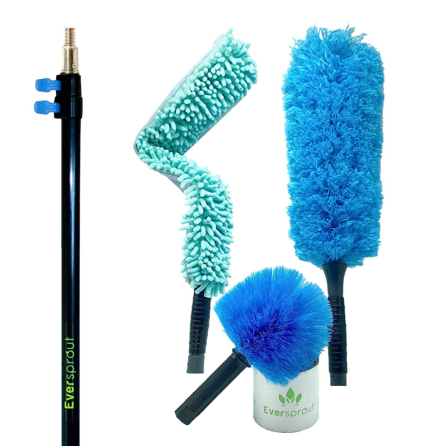 EVERSPROUT Duster 3-Pack with Pro-Pole (18-20 Foot Reach) | Hand-packaged Cobweb Duster, Microfiber Feather Duster, Flexible Microfiber Ceiling & Fan Duster | 12-Foot Aluminum Extension Pole (3-Stage)