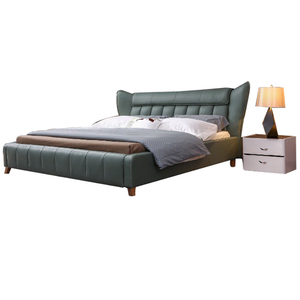 latest solid wood double designs metal bed frame green bed room furniture modern king queen size beauty bed with storage