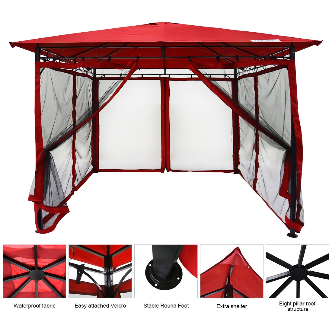 Get Quotations Quictent 10 X Metal Gazebo With Netting Screened Pergola Canopy Patio Backyard Shelter Soft